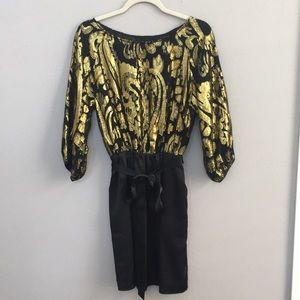 GIANNI BINI Long Sleeve Black and Gold Silk Dress